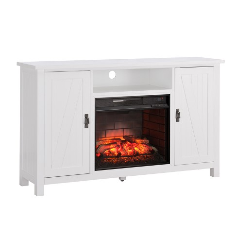 Adderline Farmhouse Style Infrared Electric Fireplace Tv Stand White