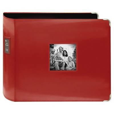 "Sewn Leatherette 3 Ring Binder - Red (12""x12"")"