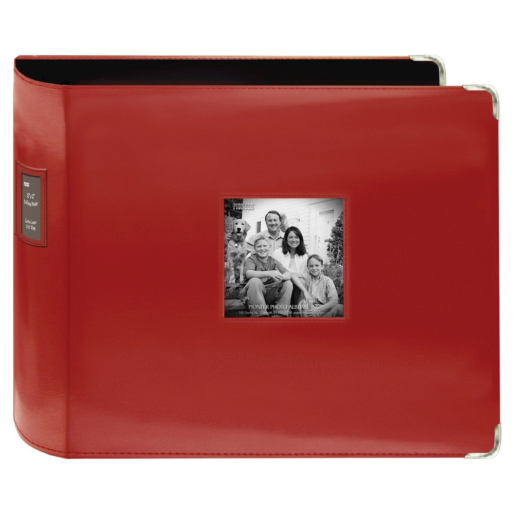 "Image of ""Sewn Leatherette 3 Ring Binder - Red (12""""x12"""")"""
