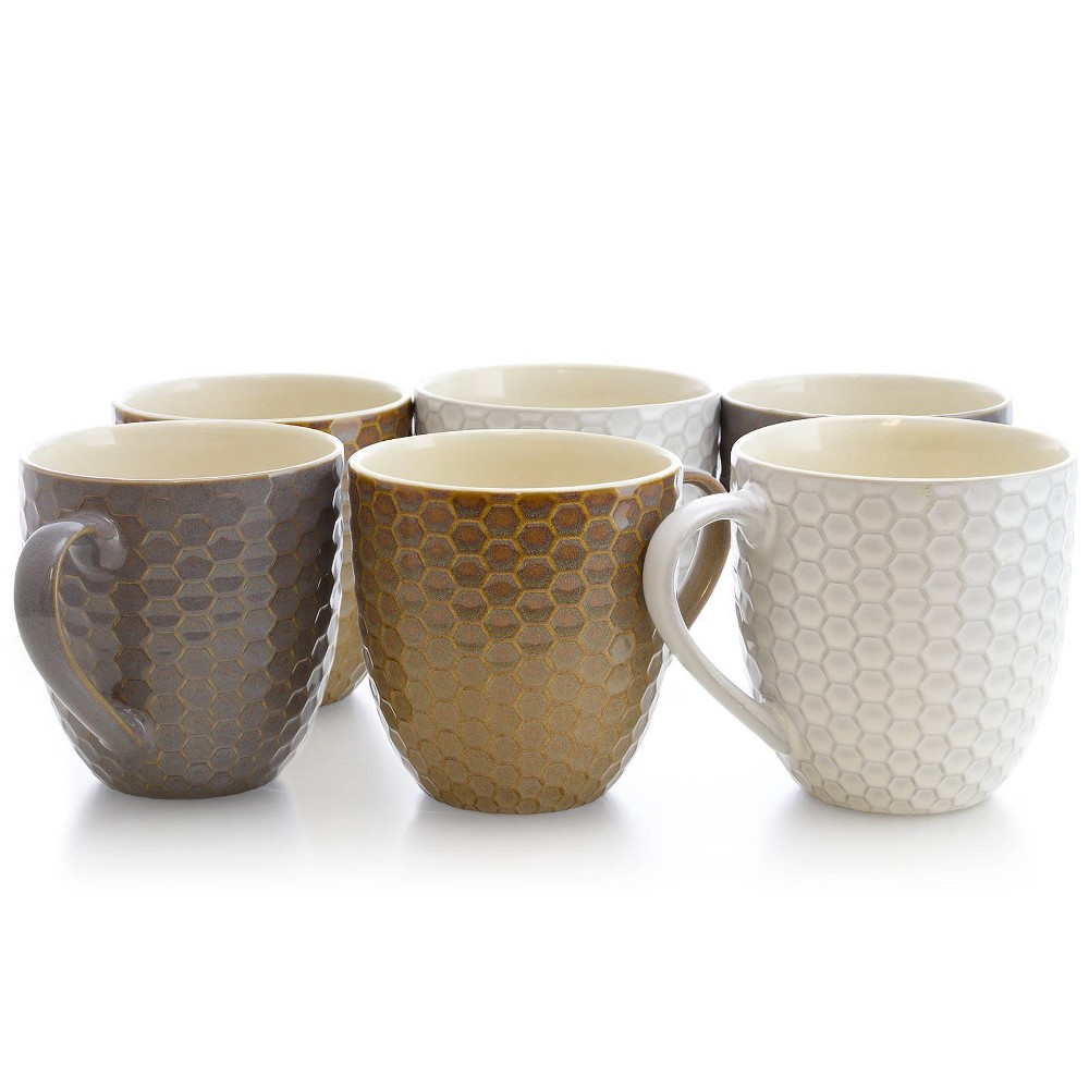 Image of 15oz 6pk Hexagon Assorted Mugs - Elama