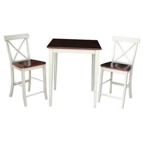3 Piece Dining Set 30 x 30 Gathering Height Table Wood/Antiqued Almond & Espresso - International Concepts - image 1 of 1