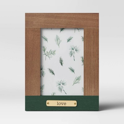 "4"" x 6"" 'Love' Plated Frame Wood - Threshold™"