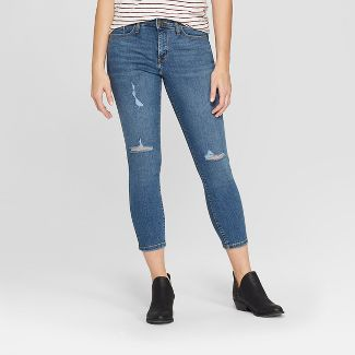 Women's High-Rise Distressed Cropped Skinny Jeans - Universal Thread™ Dark Wash 00