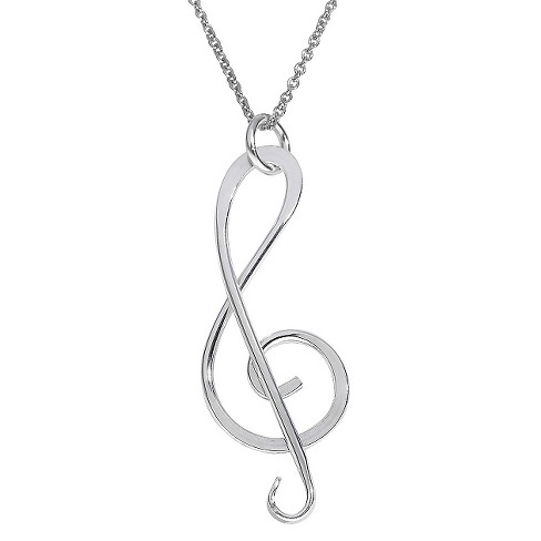 "Women's Journee Collection Handmade Treble Clef Pendant Necklace in Sterling Silver - Silver (18"") - image 1 of 2"