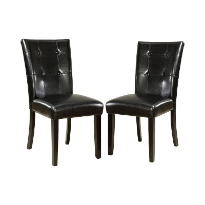 Set of 2 DenzeloLeatherette Parson Side Chair Black - HOMES: Inside + Out