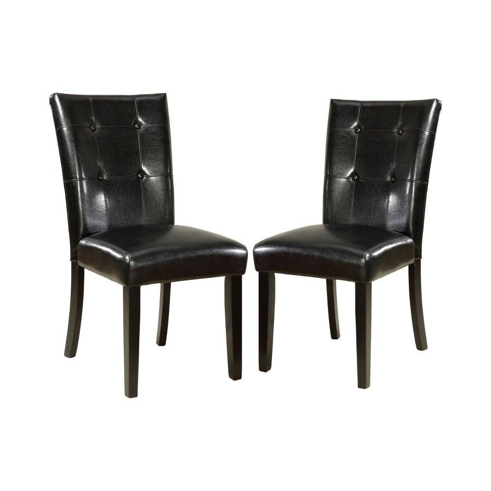 Set of 2 Denzelo Leatherette Parson Side Chair Black - Sun & Pine, Galaxy Black