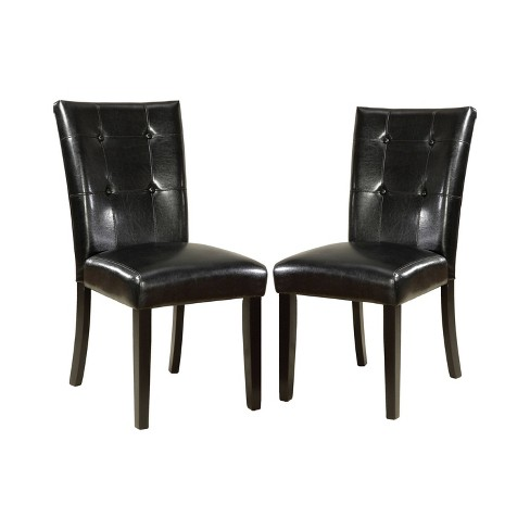 Set of 2 DenzeloLeatherette Parson Side Chair Black - ioHOMES - image 1 of 3