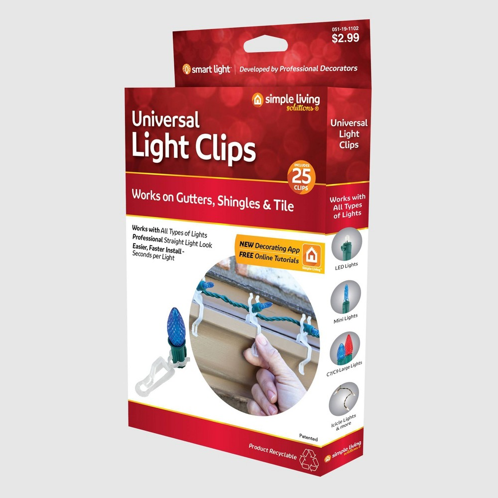 Image of 25ct Universal Light Clips - Simple Living Innovations, Clear