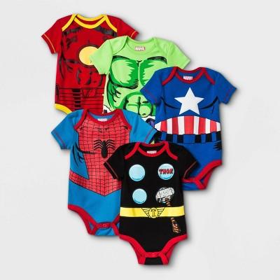 Baby Boys' 5pk Marvel Superheroes Jersey Knit Short Sleeve Bodysuits