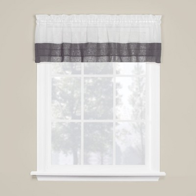 "Saturday Knight Ltd Cielo Collection High Quality Modern Brown Tuxedo Pleat Hem Window Tiers & Valance - 58""x13"""