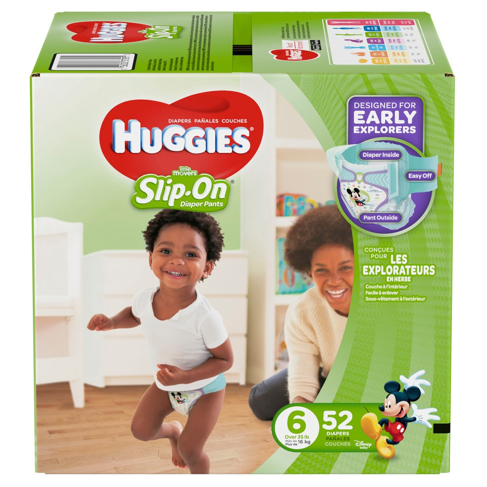 Huggies Little Movers Slip-On Diaper Pants - Size 6 (52ct)