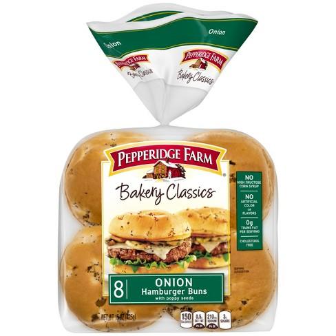 Pepperidge Farm Bakery Classics Onion with Poppy Seeds Hamburger Buns, 15oz Bag, 8pk - image 1 of 4