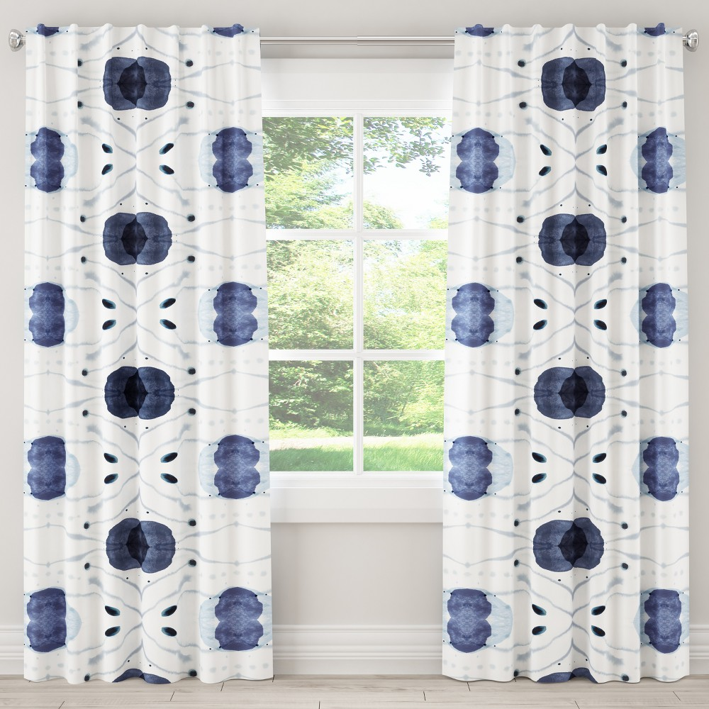 "Image of ""108L Unlined Curtain Delray Blue - Cloth & Co., Size: 50""""x108"""""""