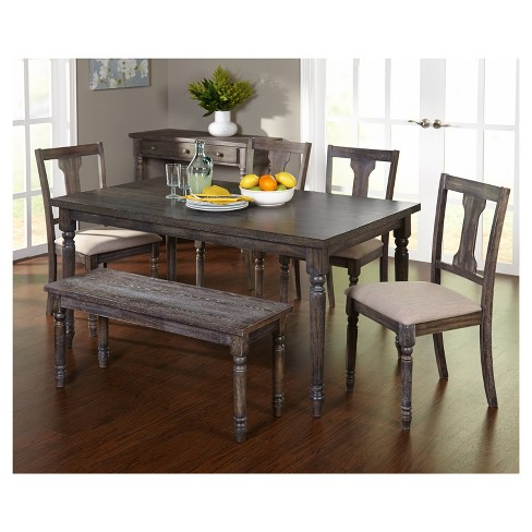 6 Piece Burntwood Dining Set With Bench Weathered Gray Target Marketing Systems