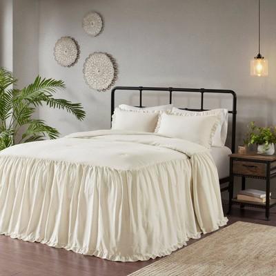 Leilah 3pc Cotton Ruffle Skirt Bedspread Set