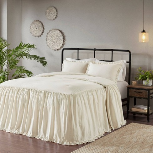 Leilah Queen 3pc Cotton Ruffle Skirt, Bedspread Size For Queen Bed