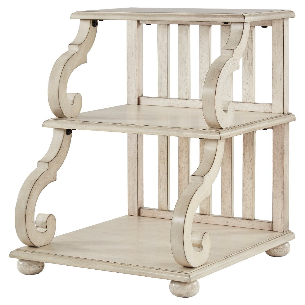Ravenswood Carved Detail Tiered Accent Table - Antique White - Inspire Q