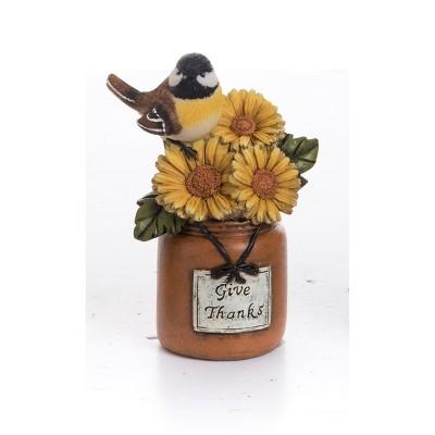 Transpac Resin 6 in. Multicolor Harvest Bird On Canning Jar Figurine