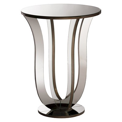 Kylie Modern and Contemporary Hollywood Regency Glamour Style Mirrored Accent Side Table - Silver - Baxton Studio