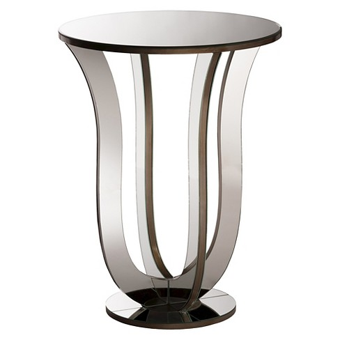 Kylie Modern and Contemporary Hollywood Regency Glamour Style Mirrored Accent Side Table - Silver - Baxton Studio - image 1 of 3