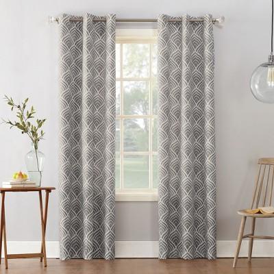 Clarke Geometric Print Textured Thermal Insulated Grommet Curtain Panel Gray 40 x95  - Sun Zero