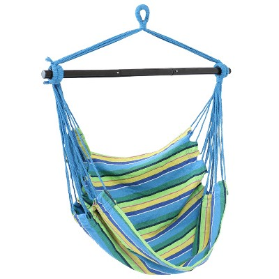 Sunnydaze Decor Hanging Rope Hammock Chair Swing with Collapsible Bar - Ocean Breeze