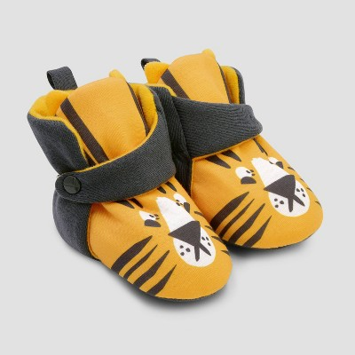 Baby Boys' Neutral Tiger Constructed Bootie Slipper - Cat & Jack™ Yellow/Gray 0-3M