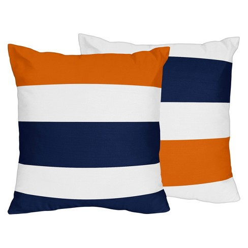 Navy Orange Stripe Throw Pillow Sweet Jojo Designs