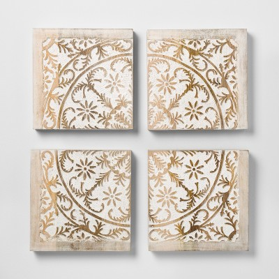 Carved Wood Panel 4pk Decorative Wall Art Set - Opalhouse™