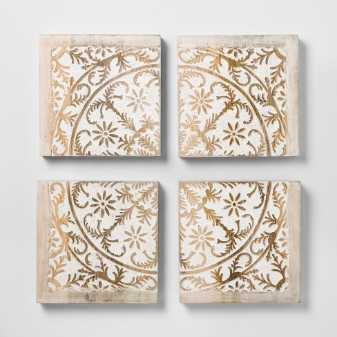 Carved Wood Panel 4pk Decorative Wall Art Set - Opalhouse™ - image 1 of 2