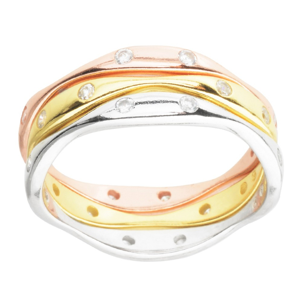 1/4 CT. T.W. Round-Cut Cubic Zirconia Three Band Channel-Set Ring in Sterling Silver - Tri-tone (7), Girl's, Multicolored