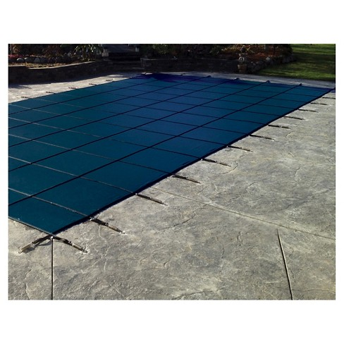 WaterWarden Safety Pool Cover for 18' x 36' In Ground Pool - Blue Solid with Center Drain Panel/Right Side Step - image 1 of 1