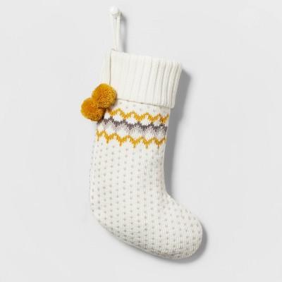 Fair Isle Knit Christmas Stocking with Ochre Poms Ivory - Wondershop™