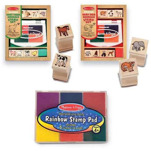 Melissa & Doug® Wooden Stamps Sets: Baby Zoo Animals and Baby Farm Animals - image 1 of 5