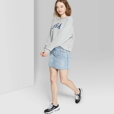 Women's Mid Rise Mini Jean Skirt   Wild Fable Indigo by Rise Mini Jean Skirt