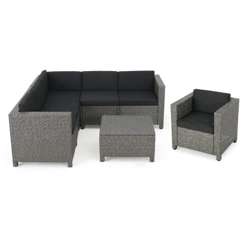 Puerta 7pc Wicker V-Shaped Sectional Sofa Set - Christopher Knight ...