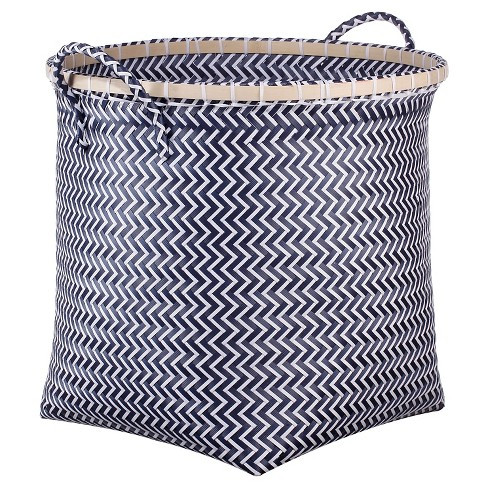 Large Round Woven Bin Navy with Wood - Room Essentials™ - image 1 of 1