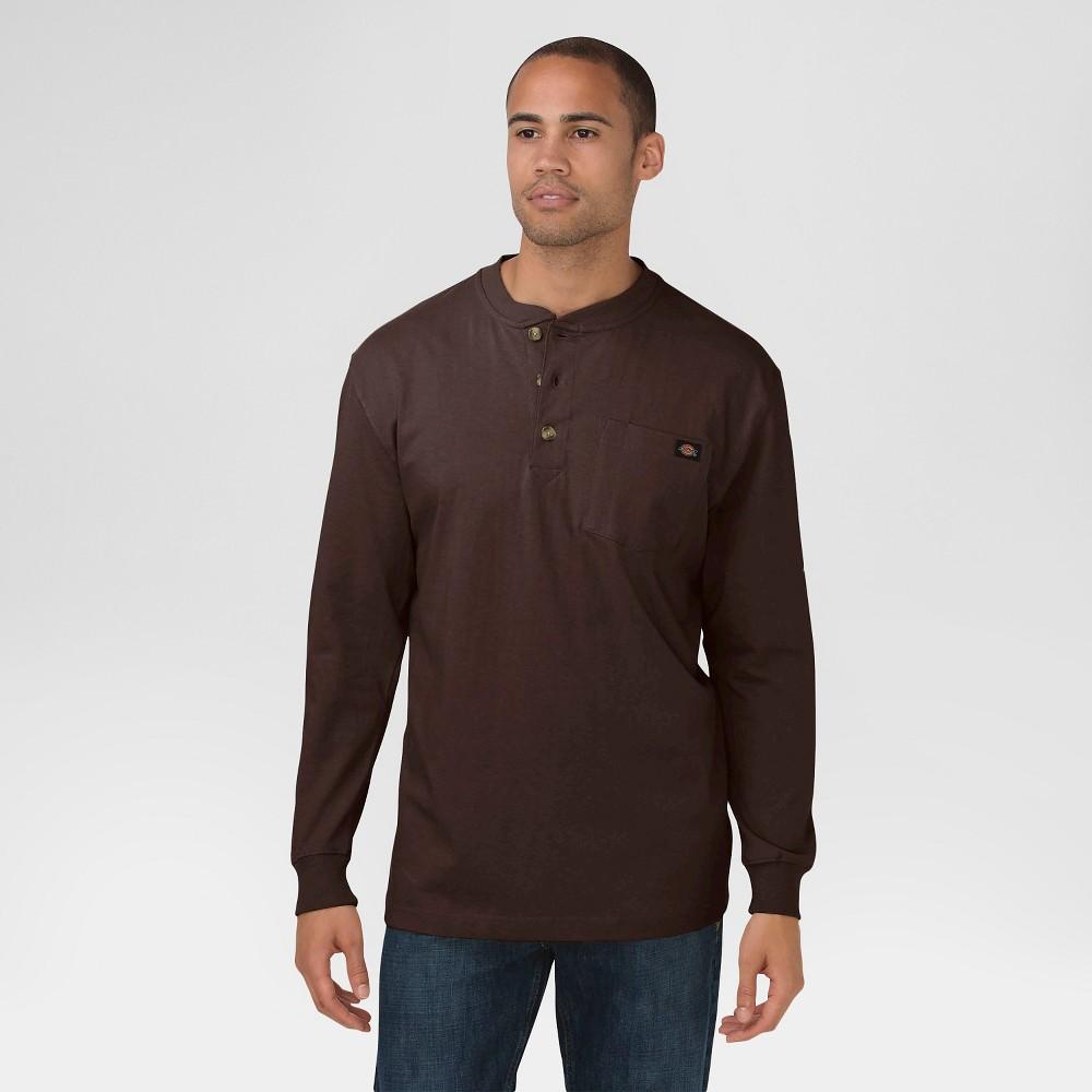 Dickies Men's Big & Tall Cotton Heavyweight Long Sleeve Pocket Henley Shirt- Chocolate Brown XL Tall, Size: Xlt