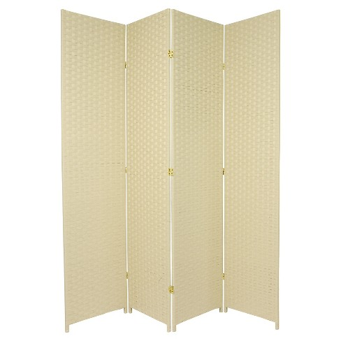 7 ft. Tall Woven Fiber Room Divider - Cream (4 Panels) - image 1 of 1