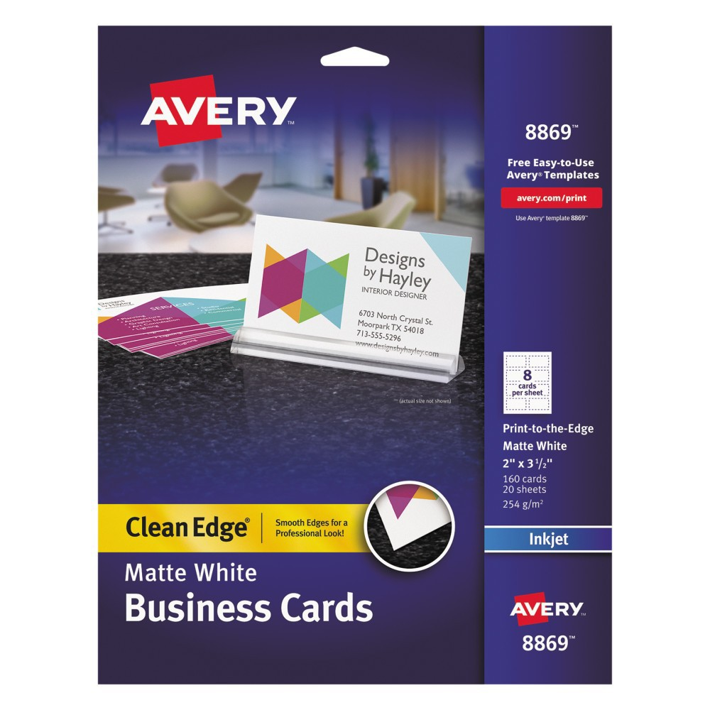 Avery Inkjet Print-to-the-Edge Two-Sided Clean Edge Business Cards - White (160 pk)