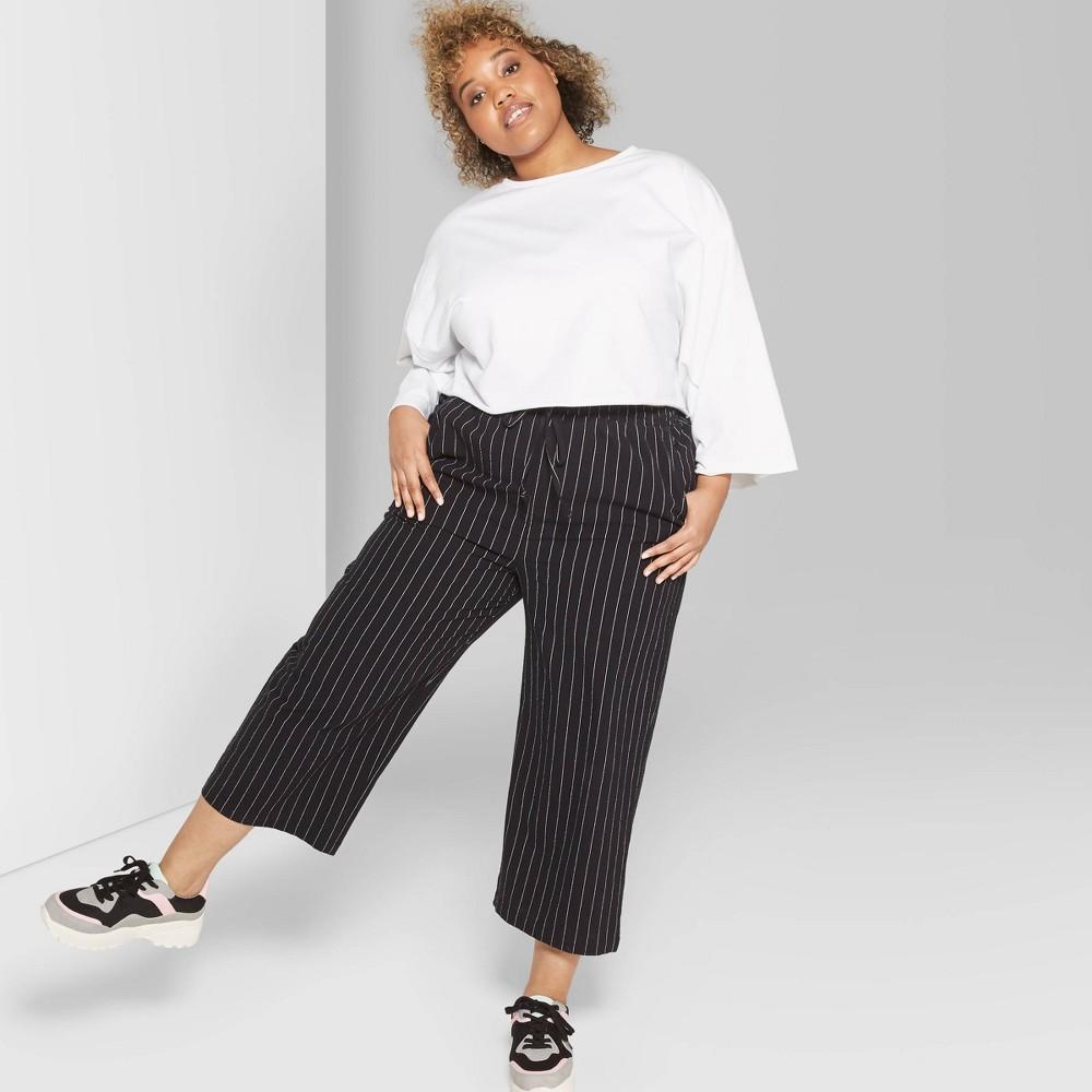 Women's Plus Size Striped High-Rise Cropped Pants - Wild Fable Black/White 2X, Gray