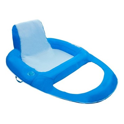 SwimWays 6060121 Spring Float Recliner Extra Large Summertime Relaxation Lounge Seat with Cup Holder for Water Pool Lake River Ocean Pond Beach, Blue