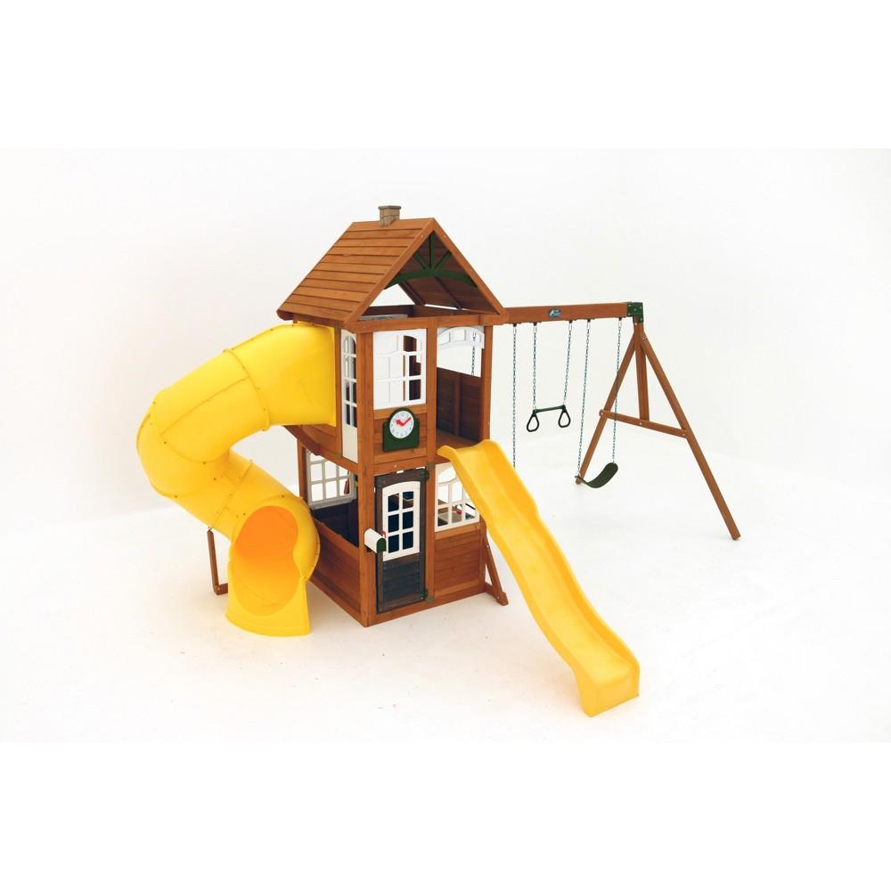 KidKraft Lewiston Retreat Wooden Swing Set/Playset, Multi-Colored