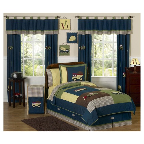 Blue & Green Construction Zone Comforter Set (Full/Queen) - Sweet Jojo Designs - image 1 of 2