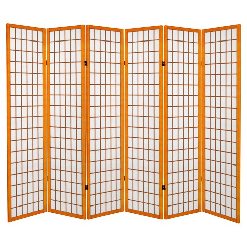 6 ft. Tall Canvas Window Pane Room Divider - Honey (6 Panels) - image 1 of 1