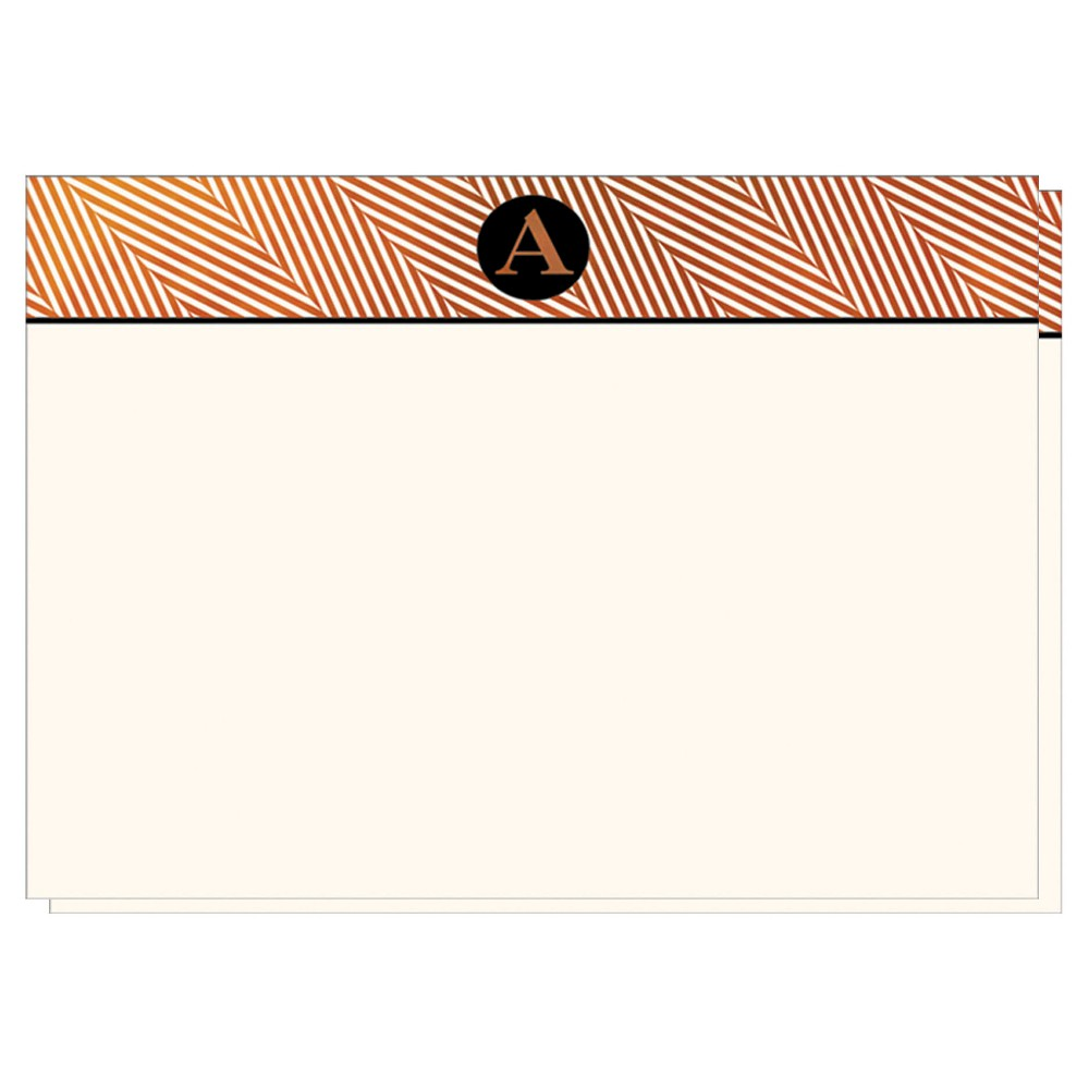 Herringbone Notecards Monogram A - 12ct, White A