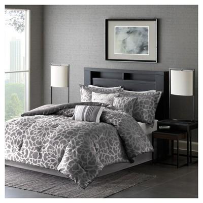 Carmela Graphic Floral Print Comforter Set (Queen)Gray - 7pc