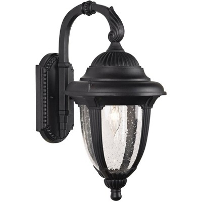 """John Timberland Traditional Outdoor Wall Light Fixture Black Carriage Style 18 1/2"""" Clear Seedy Glass for Exterior House Porch"""