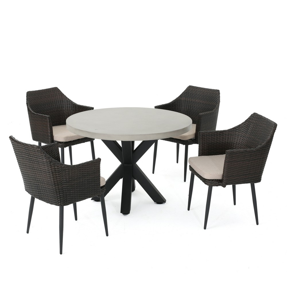 Nyla 5pc Wicker and Concrete Dining Set - Brown - Christopher Knight Home