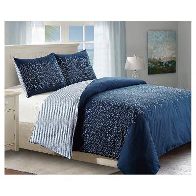 Blue & White Geo Embroidered Meadow Duvet Cover Set (Queen)3pc - Style Quarters